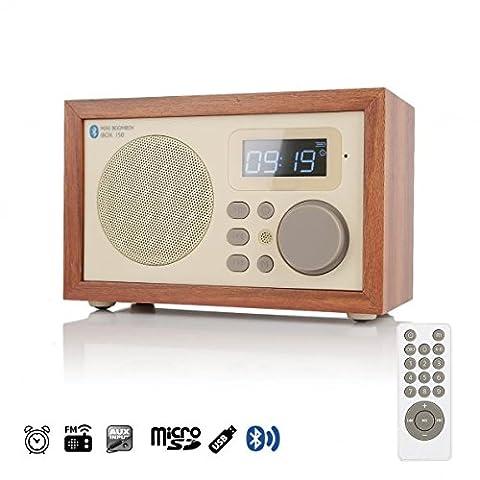 InstaBox i50 Bois Digital Multi-fonctionnel Orateur avec Bluetooth FM Radio réveil MP3 Player Supports Micro SD/TF carte et USB avec Télécommande