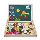 Magnetisches Holzpuzzle | Holzpuzzle Baby | Lernspielzeug | Geschenk für Kinder Jungen Mädchen | Magnet Kinderspielzeug | Doppelseitige Hölzerne Magnettafel Helle Farbenformen Puzzlespielkarten für Kinder 3 4 5 Jahr