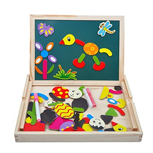 Elsatsang Hölzern Schreiben Magnetisch Puzzle Tafel mit Geschenk Box,Puzzle Puzzle Zeichnung Weiß Tafel Staffelei Spielzeug Pädagogisch Lernen Spiel mit Doppelt Seite,Für Kinder über 3-jährige (Spielzeug-box, 1-jährige Für)