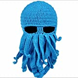 FEESHOW Unisex Damen Herren Tintenfisch Squid gestrickte Mütze Cthulu Octopus Beanie Hat Strickmützen Winter Kraken-Shaped Blau One Size