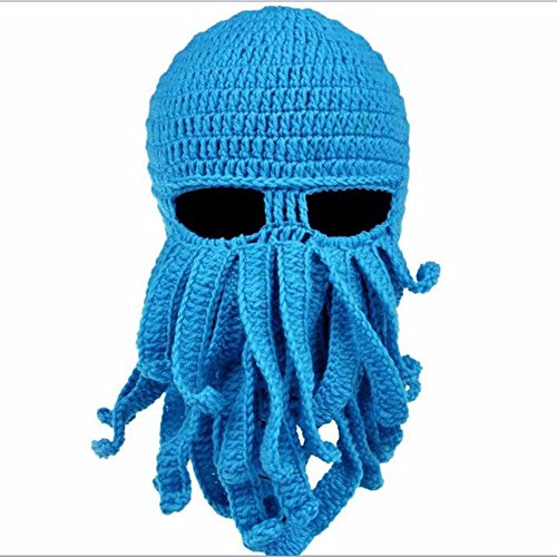 FEESHOW Unisex Damen Herren Tintenfisch Squid gestrickte Mütze Cthulu Octopus Beanie Hat Strickmützen Winter Kraken-Shaped Blau One Size (Cthulhu Halloween Kostüme)