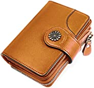 HOMPO Women's Small Wallets RFID Blocking Leather Wallet With Zipper Coin Pocket Bifold Wallet Mini Purse