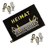 Borussia Dortmund Fussmatte / Türvorleger / Fussabtreter / Schmutzmatte plus ein BVB 09 Sammelsticker und gratis Aufkleber forever Dortmund