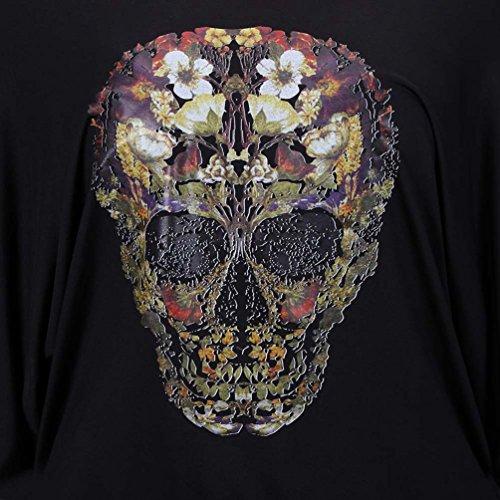 NiSeng Damen Loose Fledermausärmel T-Shirt Schädel-Druck Gefälschte Zwei Off Shoulder Tops Schwarz