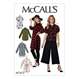McCall's Patterns 7472 E5 – Cartamodello, camicette, camicie tunica e cintura, taglie 14 – 22, multi/colore