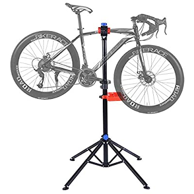 GYMAX Folding Bike Repair Stand Heavy Duty Adjustable Mountain Bicycle Cycle Maintenance Work Stand W/Tool Tray by GYMAX
