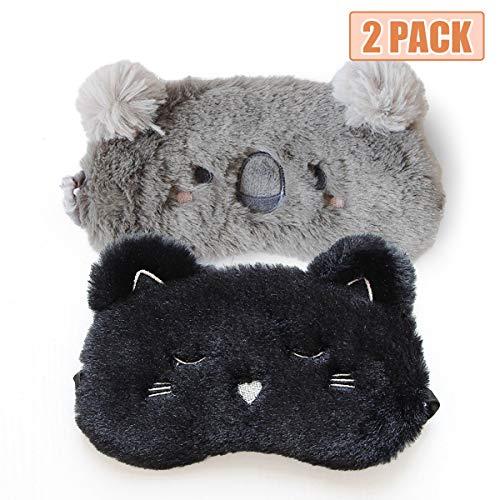 2Pcs Masque de Sommeil, H HOMEWINS Masque de Nuit Yeux Confortable en 100% Soie Naturelle & Peluche Ultra-Douce Ajustable Dormir pour Voyage Dessin Animé Mignon Femme Enfant (Chat noir + Koala gris)