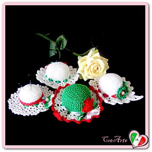 Italienische Farben häkeln Hut Nadelkissen aus Baumwolle - Verschiedene größen - Handmade - ITALY