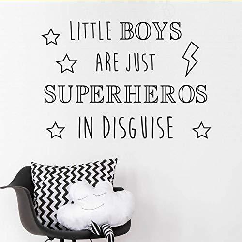 (Lglays Sterne Wörter Kunst Aufkleber Für Kindergarten Kleine Jungen Sind Superhelden In Verkleidung Wandaufkleber Blitz Wohnkultur Schlafzimmer 58 * 42 Cm)