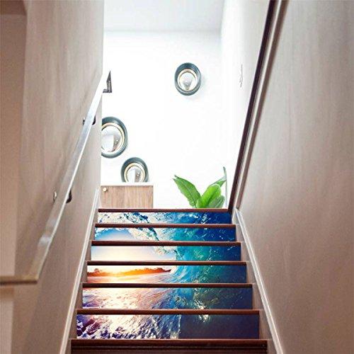 QTZS Kreative 3D Surf Staircase Home DIY Renovierung Dekorative Wandaufkleber,6pcs