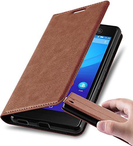 Cadorabo Hülle für Sony Xperia M5 - Hülle in Cappuccino BRAUN – Handyhülle mit Magnetverschluss, Standfunktion und Kartenfach - Case Cover Schutzhülle Etui Tasche Book Klapp Style