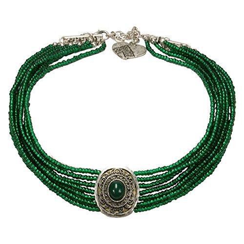 Alpenflüstern Trachten-Perlen-Kropfkette Josepha - Elegante Trachtenkette Damen-Trachtenschmuck, Filigrane Dirndlkette grün (Trachten Schmuck Perle Halskette)