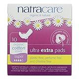 Natracare Coton Bio Ultra Supplémentaires Pads Super-Avec Des Ailes 10 Par Paquet (Lot de 2)