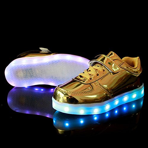 KIPTOP®Sneakers Scratch Chaussure led Basket Lumineuse clignotante multicolore USB Charge pour enfant Noël or