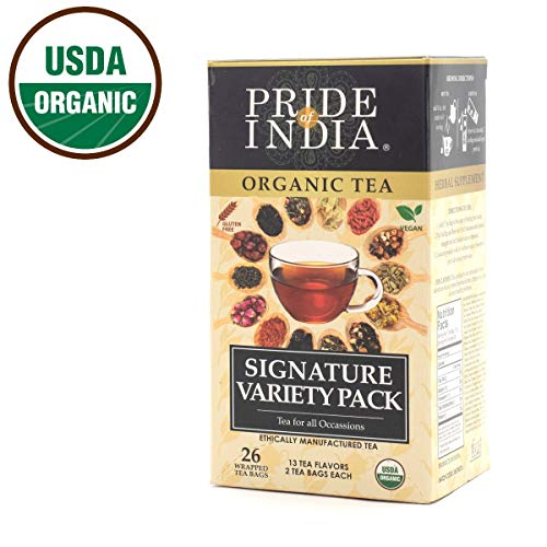Pride Of India – Organic Signature Variety Tea Box – 26 Tea Bags – 13 Assorted Flavors – Amazing Gift & Great Value – Combo of Traditional, Herbal & Wellness Teas – Made for Home, Office & Restaurants – BUY ONE GET 50% OFF 2ND UNIT (Mix and Match – Promo APPLIES FOR EVERY 2)