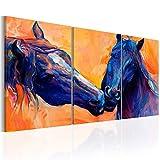 murando - Bilder 120x60 cm - Leinwandbilder - Fertig Aufgespannt - Vlies Leinwand - 3 Teilig - Wandbilder XXL - Kunstdrucke - Wandbild - Pferd Tiere - wie gemalt g-C-0017-b-e