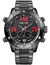 Alienwork DualTime Reloj LCD Analógico-Digital Cronógrafo relojes hombre Multi-función XXL Oversized Metal negro OS.WH-3405-B-5
