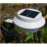 108Deals 3 LED Bright Cool White Garden Waterproof Solar Fence LED Gutter Light Garden Lawn Wall Lamp Light Switch