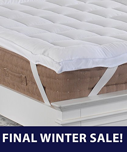 Premium New 5cm Deep SUPER KING SIZE Microfibre Mattress Topper with Peach Feel Microfibre Casing, Box Stitched & Elasticated Corner Straps from Lancashire Bedding