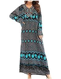 zhbotaolang Donne Arabo Abaya Robe Abito - Signora Taglia Grossa Musulmano Maxi  Vestito Ricamo Dubai Kaftan Manica Lunga Abito da… 52aaf6bc210