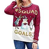 YWLINK Damen Hip Hop PersöNlichkeit Weihnachtsdruck Briefdruck Warm Pullover Trend StraßE Sweatshirt Blusen Oberteile (XL,Rot)