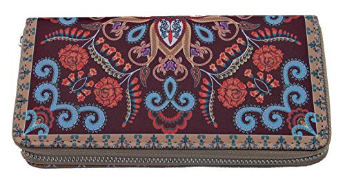 Damengeldbörse Indio Bordeaux im indischen Paisley-Ornamentik-Design