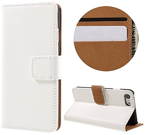 AMEEGO iPhone SE / 5S / 5 Echtes echtes Leder Brieftasche Flip Case mit Tan Innen, Ständer, Kartenfächer und Magnetverschluss Schlankes Design Notebook Flip Cover WHITE
