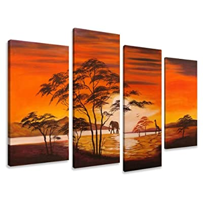 "Picture - art on canvas africa length 51"" height 31,5"", four-part parts model no. XXL 6138 Pictures completely framed on large frame. Art print Images realised as wall picture on real wooden framework. A canvas picture is much less expensive than an oil p"