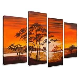 Bild auf Leinwand Afrika 130 x 80 cm 4 Teile Modell-Nr. XXL 6138 Bilder fertig gerahmt auf echtem Holzrahmen riesig. Ausführung Kunstdruck als Wandbild auf Rahmen. Günstiger als Ölbild Gemälde Poster Plakat mit Bilderrahmen