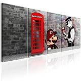 murando - Bilder Banksy Mario 200x80 cm Vlies Leinwandbild 5 TLG Kunstdruck modern Wandbilder XXL Wanddekoration Design Wand Bild - London Street Art Urban Mural i-C-0104-b-m