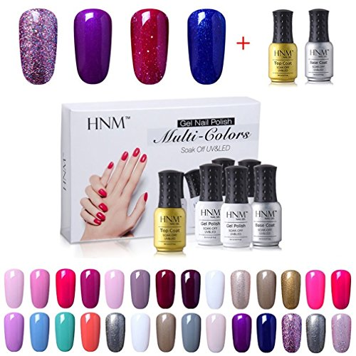 HNM Lot Vernis à Ongles Vernis Semi Permanent-4pcs avec TOP COAT BASE COAT pour Ongles, UV LED Soak off 8ml-kit09