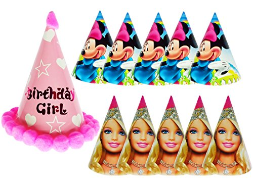 Ziggle Birthday caps for Birthday girl and kids caps Party caps (Pack of 11 Caps)