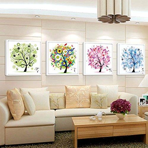 Lanlan Kreuzstich Diamant Stickdecken 4Stück-Home Dekoration 4Jahreszeiten DIY 5D Diamant Malen Mosaik rund Kristall Blume Baum Muster (Thread Herren-southern)