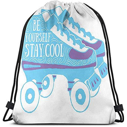 BOUIA Kordelzug Rucksack Taschen Sport Gym Cinch Bag, seien Sie Sich cool bleiben Typografie auf Rollschuhen der 90er Jahre Thema