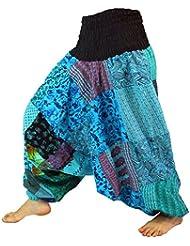Aladinhose Patchwork Pluderhose, Hippie Hose türkis / Pluderhosen und Aladinhosen