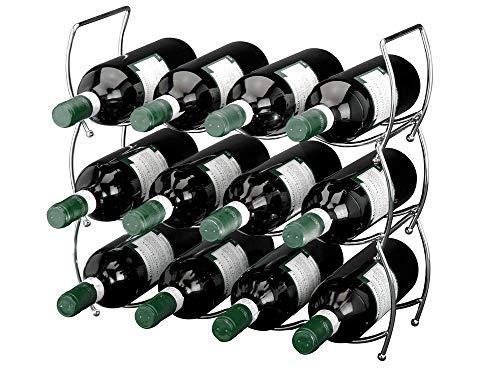 Edles Edelstahl Weinregal - für 12 Flaschen - erweiterbar - Weinständer - Flaschenregal - Regal