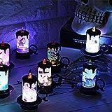 iBaste 4er Set Halloween Dekoration Licht Kerzenlicht Tischdeko mit Batterie 7cmx8.5cm Partydeko Laterne Beleuchtung - 8