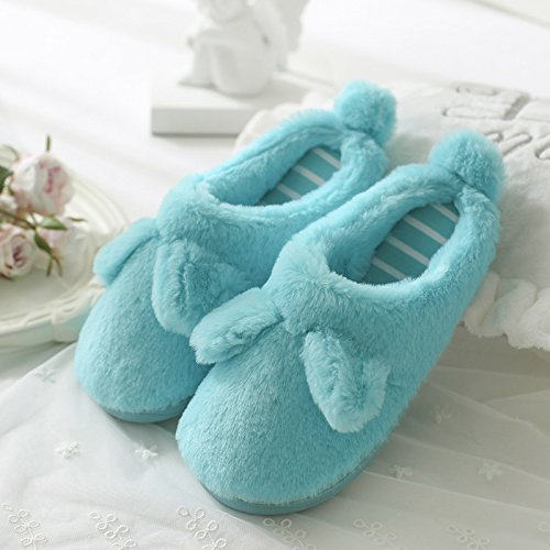 DogHaccd pantofole,Pantofole di cotone femmina spessa coperta, antiscivolo inverno incantevole soggiorno di casa con un pacchetto di caldo con eleganti pantofole Il lago blu4