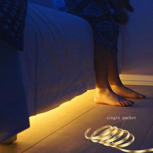 Nachttischlampe mit Bewegungsmelder, flexibler LED Nachtlicht für Kinder mit automatischem Ein- und Ausschalt Timer … (Single Streifen)