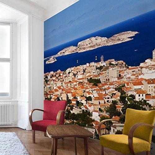 Marseille Schlafzimmer (Apalis Vliestapete Marseille Fototapete Quadrat   Vlies Tapete Wandtapete Wandbild Foto 3D Fototapete für Schlafzimmer Wohnzimmer Küche   Größe: 192x192 cm, blau, 97833)