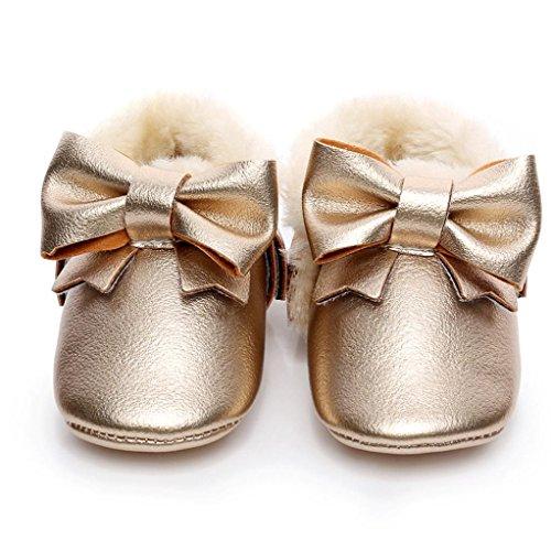 FEITONG Baby Bowknot weiche Sohle Schnee Aufladungen Mehrfarbig Baumwolle Schuhe Kleinkind Stiefel (12 ~ 18 Monat, Silber) Gold