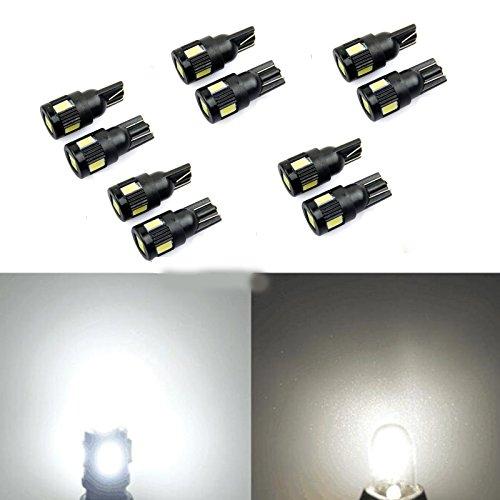 LncBoc T10 LED W5W 168 194 501 Ampoules de Voiture Lampe 1SMD 2525 LED Lampes pour Plaque Dimmatriculation Feu de Position Lat/éral Blanc x/énon 6000K 12V Paquet de 2