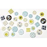 Rayher Hobby 7914300Diseño de botones de papel Fresh, cierre motivos 2x 2,5cm, Caja SB, 30unidades, revestimiento plástico