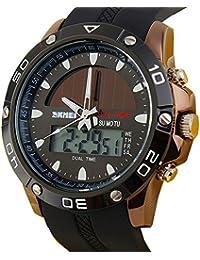 ufengke® sportdualzeit wasserdicht kalander leucht die sonnenenergie quarz armbanduhren für männer jungen-braun lünette
