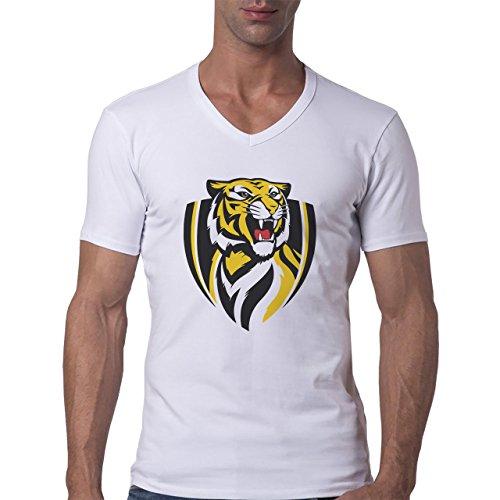 Tiger Big Cat Animal Logo Herren V-Neck T-Shirt Weiß
