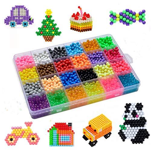 Wasserperlen Komplettes Zubehör inklusive 24 Farben, 3000 Perlen Nachfüllset mit Regelmäßige Größe Perlen kompatibel ist Bastelset Designer Kollektion für Kinder mit Kristallperlen -