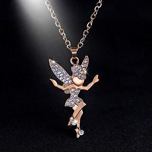 Xiaojing Damen Halskette mit Engel-Elfen-Anhänger, Gliederkette, Pullover, Halskette, Geschenk -