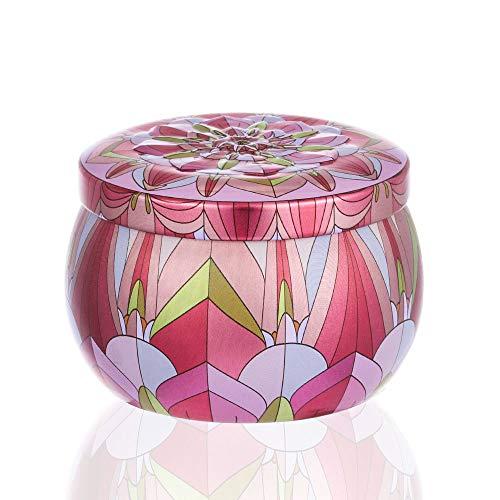 Münzen Pille Versiegelter Jar TrinkComment Container Dampproof Tea Pot Tin Candy Iron Box Flower Tinplate Trommelform Kerze(pink) -