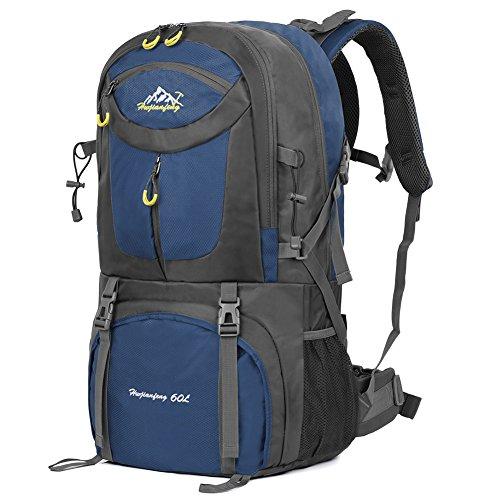 Imagen de vbiger 60l  impermeable  para deporte al aire libre para escalada senderismo trekking alpinismo con cubierta para la lluvia azul marino
