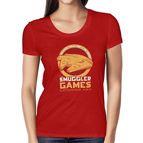 NERDO - The Smuggler Games - Damen T-Shirt, Größe L, rot (Hunger Games Kostüme Für Kinder)